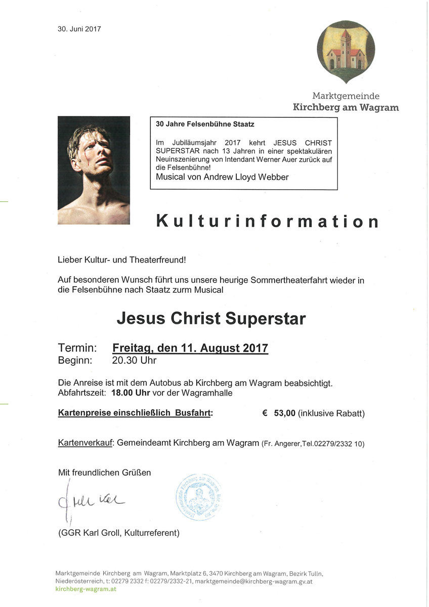 "Sommertheaterfahrt nach Staatz zum Musical ""Jesus Christ Superstar"""
