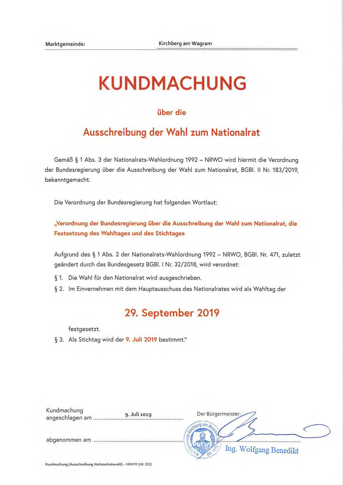 Nationalratswahl 29 September 2019